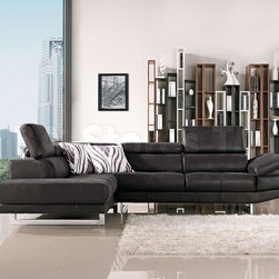 Italia Black Fabric Sectional Sofa - This Italia Black Fabric Sectional by J&M Furniture makes a lovely addition to any living room or den. The ultra-soft fabric is both comfortable and easy to maintain and the nice lines lend to a certain modern look. Available in Left Hand Facing.