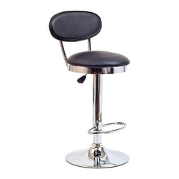 "Modway - Retro Bar Stool in Black - Ahead of its time, the Retro Bar Stool of the 1950s is a timeless piece of intrigue for all generations. Known for its simple vision and drive for advancement, this work is a classic brimming with buoyancy and rich experiences. Extraordinary qualities abound from a time when things were a lot more simple and direct. Includes: One - Retro Bar Stool; Popular in restaurants and homes; Fits most bars and countertops; Padded vinyl seat & back; Height adjustable hydraulic lift; Polished chrome-finished base; Tubular footrest for support; Easy wipe clean surface; Seat Height: 22 - 30""H; Dimensions: 14""L x 14""W x 37.5 - 45.5""H"