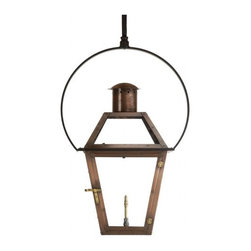 "Vintage Lantern Gas and Electric Lights - Bourbon Street Outdoor Lantern with Yoke Bracket  19"" x 11.125"" Gas - The Bourbon Street Lantern is our signature model and can be seen adorning many of the homes and businesses of New Orleans. This Yoke Mount hanging ceiling mount version is available is several sizes with options for different gas and electrical. Each Bourbon Street Lantern is hand built by master craftsmen in New Orleans and features solid copper construction, hand hammered rivets, brass latches, hinges and hardware, and tempered glass."