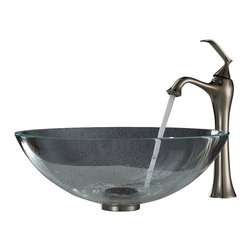 Kraus - Kraus Crystal Clear Glass Vessel Sink and Ventus Faucet Brushed Nickel - *Add a touch of elegance to your bathroom with a glass sink combo from Kraus