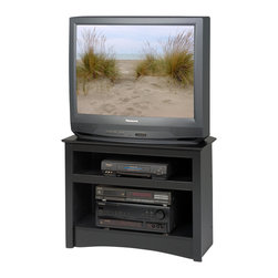 Prepac - Prepac Sonoma Black Corner 32 Inch TV Stand - Regardless of your floor space, the corner TV stand is sure to fit right in. This stand is designed for TVs up to 100 lbs. (Both flat panel & CRT) and it's two compartments give you storage for your electronic accessories and components. Don't worry, you'll still be able to access any cables and wiring through an opening in the back.