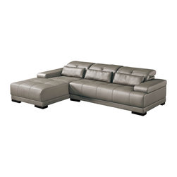 ESF - 6008 Full Grey Top Grain Italian Leather Sectional Sofa With Adjustable Headrest - The ESF 6008 sectional sofa will add a stylish modern look that works well with any decor. This sectional comes fully upholstered in a beautiful grey top grain Italian leather. High density foam is placed within the cushions for added comfort. The sofa features adjustable headrests for that extra touch of added relaxation. Only solid wood products were used when crafting the frame making the sofa a very durable piece. The ottoman shown does NOT come included with the sofa.