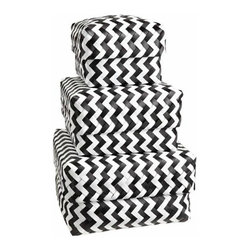 Zig Zag Strapping Baskets, Black - Adding personality to bookcases can be a tough task. When I stumbled upon these storage baskets, I immediately thought they would be great for adding a bit of pattern next to my classics.