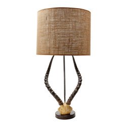 Lazy Susan - Lazy Susan Natural Faux Horn Lamp with Burlap Shade - Animal-inspired accents give the Lazy Susan faux horn lamp rustic charm. A cast resin and wood piece, this lighting fixture is topped with a tan burlap shade. Accepts 100W max bulb (not included); Three-way switch