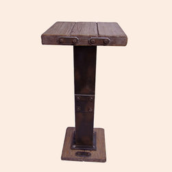 None - Rustic Forge Bar-height Square Bistro Table - Add a touch of the timeless to your indoor furnishings with the Rustic Forge Bar-Height Square Bistro Table. This piece combines the rustic appearance of iron smithing with the versatility and strength of Wood Veener and MDF.