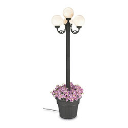"PLC - European Park Style Four White Globe Lantern Planter - Features black texture powder coated aluminum construction with a cast iron colored resin planter base.  Four 8"" durable white acrylic lantern globes, two level dimming switch and 10 ft. weatherproof cord and plug. 4-60 watt bulb maximum. Dimensions: 80"" tall x 21"" diam. planter base"