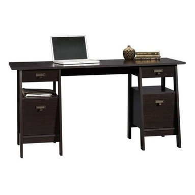 Sauder - Stockbridge Computer Executive Trestle Desk i - 2 File drawers with full extension slides hold letter-size hanging files. 2 Small drawers feature metal runners with safety stops. Grommet hole for electrical cord access. Finished on all sides for versatile placement. Patented T-lock drawer system. Made of engineered wood. Assembly required. 59 in. W x 25 in. D x 29 in. H. Assembly instructions