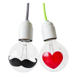 EarthSeaWarrior - Heart and Mustache Lightbulbs - Show someone how much you care with a one-of-a-kind designed heart bulb that shines oh so bright. Or mix it up with the whimsical mustache! Each light bulb features either a red heart or a black mustache that has been hand painted on the bulb's surface.