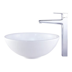 Kraus - Kraus C-KCV-141-15500BN White Round Ceramic Sink and Virtus Faucet - Add a touch of elegance to your bathroom with a ceramic sink combo from Kraus