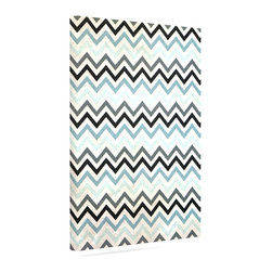 """Kess InHouse - Heidi Jennings """"Blue Chevron"""" Gray Aqua Wrapped Art Canvas (12"""" x 10"""") - Bring your outdoor patio to life with this artistic outdoor canvas wrap featuring gorgeous artwork by KESS InHouse. These canvases are not only easy to hang and remove but also are the perfect addition to your patio collection. These canvases are stretched around a wooden frame and are built to withstand the elements and still look artistically fabulous. Decorating your patio and walls with these prints will add the splash of art and color that is needed to bring your patio collection together! With so many size options and artwork to choose from, there is no way to go wrong with these KESS Canvas Wraps!"""