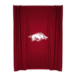 Sports Coverage - NCAA Arkansas Razorbacks College Bathroom Shower Curtain - Features: