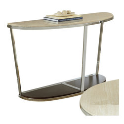 """Steve Silver Furniture - Steve Silver Bosco Faux Marble Sofa Table with Espresso Base - Chrome, faux marble and wood combine for the Bosco Collection, for a contemporary retro-Modern style. The Bosco cocktail table stands 30"""" high, with a 48"""" x 18"""" half oval top, a chrome frame and a dark wood bottom. This eye-catching piece complements the Bosco End table and cocktail tables."""