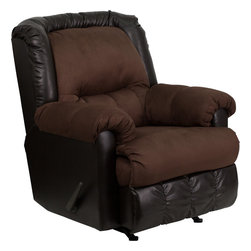 Flash Furniture - Contemporary SanMarino Choc/Walnut Vinyl/Microfiber Rocker Recliner - We have never seen or sold a recliner with such a unique look. The use of microfiber and leather-look vinyl made us think of the Old West, but it will definitely make anyone think about how comfortable and attractive it is. Made with top quality materials, it is sure to please.
