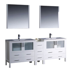 """Fresca - 84"""" White Double Sink Vanity w/ Side Cabinet & Int Cascata Brushed Nickel Faucet - Fresca is pleased to usher in a new age of customization with the introduction of its Torino line.  The frosted glass panels of the doors balance out the sleek and modern lines of Torino, making it fit perfectly in eithertown or country decor."""