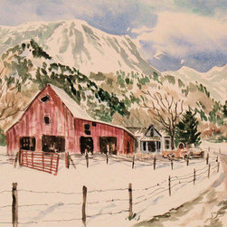 Red Barn - Big Mountain (Original) by Sheila Parsons - The Black River Bridge afforded this view near Paonia, Colorado. The red, red, red barn was a jewel in the snow.