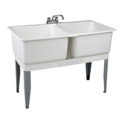 MUSTEE - MUSTEE Utility Sinks 46 in. x 34 in. Plastic Floor-Mount Laundry Tub White 24C - Featuring a multiple piece molded design the Mustee E. L. & Sons Inc. 46 in. x 34 in. Plastic Laundry Tub features heavy-gauge steel legs with levelers and stoppers for sturdy installation. The 20-gallon capacity tubs have leak proof integrated drains and smooth mildew resistant surfaces that are simple to clean. A ribbed underbody provides added strength and support. These tubs include everything needed for setup and installation. Color: White.