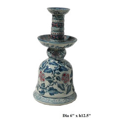Chinese Blue & White Red Porcelain Candle Holder - This blue & white porcelain candle holder has precise detail graphic on the surface. It can be used as flowers or accessories display also.