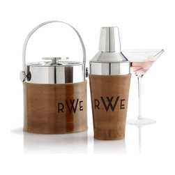 Leather-Wrapped Ice Bucket with Tongs - Entertain in style with this classic bar set. The wood mixed with chrome is so fancy.
