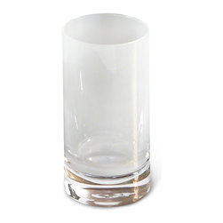 Kathy Kuo Home - Vistula Global Bazaar White Highball Glasses - Set of 4 - Hand blown, cased Polish glass is sculpted into sleek, modern glasses and finished in frosted opaline white. The tall, slim size is perfect for fresh-squeezed lemonade with lunch or refreshing iced tea on a summer afternoon.