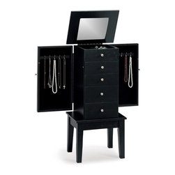Coaster - Coaster 5-Drawer Jewelry Armoire in Cappuccino Brown - Coaster - Jewelry Armoires - 900085 - Store all your jewelry with this clean, stylish black jewelery armoire. This elegant armoire features specially designed storage spaces for rings, necklaces and more. The classic lines of this accent piece and its inherent sophistication will ensure a lasting appeal.