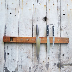 O Holy Knife Rack - Store your knives in a whole new way with the eccentric O Holy Knife Rack. Constructed from wood and the pipe of an antique church organ that's been respectfully retired from praising use, no two knife holders are exactly alike. Each knife hangs from extremely strong magnets made from rare elements of the earth, putting your knife-falling worries to rest, while the two included brass screws allow for easy installation and a splash of shining glory.