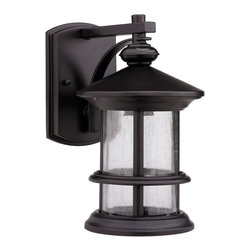None - Transitional Rubbed Dark Bronze 1-light Outdoor Wall Fixture - Light up your backyard with this bronze outdoor wall fixture. These dark bronze light fixtures come with a rich finish that nicely complements other furniture and fixtures. Made from glass and aluminum,this light will stand up to all weather elements.