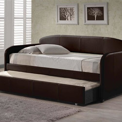 Hillsdale - Springfield Daybed in Brown Faux Leather w Tr - Includes Daybed, Suspension Deck, and Trundle. Mattress not included. Brown Faux Leather. Assembly Required. Daybed: 84 in. L x 42 in. D x 43 in. H. Trundle: 77.25 in. L x 12 in. D x 6.5 in. HWhether you choose it for a teens bedroom or need it as a guest bed in your office or den, the Springfield daybed is a marvelously modern solution.The easy to care for faux leather and rounded edges add to this daybeds allure.��  The matching trundle offers even more space for sweet dreams.
