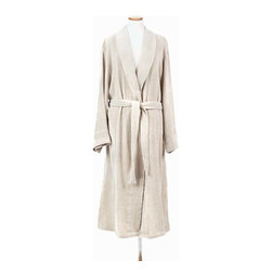 Linen Chenille Robe - Enjoy your own home in hotel quality with the Linen Chenille Robe.  Subtle neutral color in the flaxen fibers used to weave this silken-soft fabric makes it look sophisticated and perfect hanging on the back of a door or on an antique coat rack in the bedroom, while the smooth deliciousness of the fabric feels supple and alive, a caress against your skin as you walk from a luxurious bath.