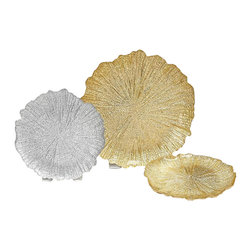 belle & June - Brilliant Coral - Gold Side/Salad Plate-Set of 4 - Set of 4