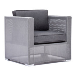 Zuo - Clearwater Bay Outdoor Arm Chair - The Clearwater Bay Outdoor Collection is sleek and sophisticated with its clean lines and sexy silhouettes.  The unique gauze-like gray fabric wraps the light-weight aluminum frame keeping the look clean and modern.  Put this gray collection in your outdoor space and add black and white accents for a more monochromatic, contemporary look or add pops of color with throw pillows in any hue you can dream of for a more playful space.  Regardless of the look you aspire to achieve, let the Clearwater Bay Outdoor Arm Chair complete your patio or pool-side space.  The cushions are included and fabrics are water resistant, so let this all-weather collection set the tone for summer in your backyard.