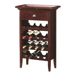 Coaster - 16 Bottle Wine Rack with Serving Tray Top - Coaster - Wine Racks - 100164 - Entertain in style with this classy wine rack. Crafted with a warm brown finish it can store up to an impressive sixteen bottles of wine. Whether you are a red or white lover this wine rack can do the job. The top is built as a serving tray and can easily be lifted off when entertaining. A drawer provides convenient storage space for accessories like bottle openers corks and more.