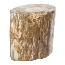 """Petrified Forests - NoLiTa Petrified Wood Stool/Side Table - Each piece is 20 million years in the making. Petrified woods are essentially trees that time has very slowly turned to stone. Hand-selected from around the globe, your fossil piece is unique in shape with the colors reflecting minerals present during the petrification process. This limited resource is harvested sustainably, preserved eternally, and sure to increase in value. Petrified tree stumps are great for use indoors or out as stools or side tables and especially when grouped into a giant coffee table. This piece, like all of our pieces, is a completely unique piece of furniture.     Height: 16""""   Width: 16.5""""   Depth: 12.5""""    Weight: 193 lbs"""