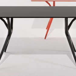 """Kartell - Spoon Dining Table - Spoon Table is a folding light office table characterised by its extreme lightness and practicality. The structural surface is made of honeycomb aluminium and is only 15 mm thick. The finish is white laminate whereas the methacrylate edges are coloured on the bottom so that the transparency creates a sense of depth. The thermoplastic legs are a guarantee of resistance and elasticity. The knee mechanism closing was developed for easy folding of the top and makes the Spoon Table perfect for living in small spaces and easy carrying. The leg-locking system requires no tools and works using only a slider eyelet. The Spoon Table comes in three sizes of top and with legs and matching edges in three colours. Features at a Glance: Spoon Table Features: -Tabletop is made of honeycomb aluminium and melamine laminate. -Legs are made of batch-dyed modified polypropylene. -Made in Italy. Small Spoon Table Dimensions: -28.37"""" H x 55.12"""" W x 28"""" D. Medium Spoon Table Dimensions: -28.37"""" H x 63"""" W x 32"""" D. Large Spoon Table Dimensions: -28.37"""" H x 78.74"""" W x 35"""" D. Quality: -In 2005, Kartell received accreditation for its Quality Management Systems according to the ISO 9001: 2000 standard. The attainment and preservation of this certification testifies to Kartell's commitment to high quality and continued research into higher levels of quality in company management systems.. Helping the Environment: -Kartell products use a wide variety of plastic materials, thereby reducing the use of living organisms, such as trees, which are difficult and time-consuming to replace.. -Most Kartell products are easily recycled and product components can be separated to elements made of a single material to simplify the recycling process. Plastic components also carry clear identification marks to aid correct separation of different plastic types for effective recycling.. Care and Maintenance: -Kartell products are easy to clean and require only simple care to remain in"""