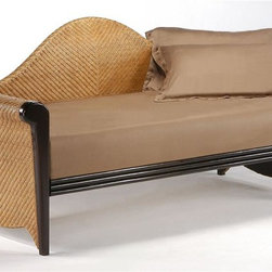 Night & Day Furniture - Twin Daybed in Wood & Rattan - 100% Malaysian Rubberwood construction. Dark Chocolate Finish. Bed includes Arm Set, Back Panel, Rails and SlatsBed Dimension:. Arm Set: 32 in. W x 42 in. D x 9 in. H. Back Panel: 22 in. W x 89 in. D x 2 in. H. Rails and Slats: 9 in. W x 78 in. D x 2 in. H. Trundle Face: 10 in. W x 77 in. D x 3 in. H. Trundle Slats: 6 in. W x 40 in. D x 5 in. H. Overall: 89 in. L x 39.25 in. D x 41.875 in. HOur Daybed Collection is like an album of our Greatest Hits. Taking inspiration from our other great Collections we are pleased to offer you this stunning Daybed Super Group!Our Rosebud Daybed is simply the most natural addition to this great line-up. Its handsome handcrafted wood and rattan combination will forever be in style. The Rosebud is one of our very greatest hits. Rosebud Daybed above in Honey Glaze/Dark Chocolate Finish. Shown here with optional Rolling Storage Drawers. Our Daybed Collection is an all wood (or all wood & rattan) collection, from the arms & back panel to the bed platform. Built with the finest materials and constructed strong & smart, our Rosebud Daybed is a piece of furniture that will endure for years to come. All Daybed Collection items come with a limited 10 year warranty. (Rattan models, 5 year warranty).