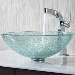 """Kraus C-GV-500-12mm-15100CH Broken Glass Vessel Sink and Typhon Faucet - APPLY COUPON CODE """"EDHOUZ30"""" AT CHECKOUT. JUST OUR WAY OF SAYING THANKS."""