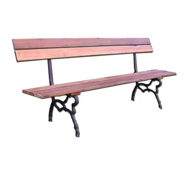 """Pre-owned Reproduction French Park Bench - Reproduction of an antique 19th Century Park bench discovered the Paris Puces. Would be a beautiful addition to any garden, veranda, or port cochere. Cast iron legs; wood seat & back is reclaimed pine. Seat height is 16"""".    Please specify shipping preference to support@chairish.com. Bench may be purchased unassembled via UPS, or assembled via white glove shipping."""
