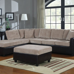 Coaster - Henri Beige Corduroy Sectional - A must-have furniture piece for any casual-styled living room. This two-tone sectional group displays a subtle and classy contrast with a soft textured beige corduroy on the seating area and smooth black leather-like vinyl on the base. Also features coil spring and webbed back construction for durability, and two complementary accent pillows for added style and comfort. Pair this sectional with a matching storage ottoman.