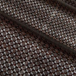 Pemba Rattan Fabric in Coffee Bean - Pemba Rattan Fabric in Coffee Bean is a woven grass-textured fabric. This unique fabric makes great table runners or pillows, and may be used as upholstery if backed (knit backing recommended) or wall covering (acrylic or paper backing recommended. Made in Belgium from 100% nylon. Width: 55″