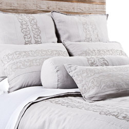"Pom Pom at Home - Pom Pom at Home Allegra Silver Duvet Cover - Pom Pom at Home's bedding and accessories lend lived-in elegance to everyday experiences.�� The Belgian linen Allegra duvet cover delivers a luxurious neutral accent to a bedroom. Showcasing a lovely silver hue, this bedding features delicate inset embroidery for a romantic touch. Made from 100% GOTS certified organic linen. Available in queen and king sizes. Machine washable. Insert not included. Queen: 88""W x 88""H. King: 90""W x 104""H. Flange: 0.5""W. Inset embroidery: 9.5""W."