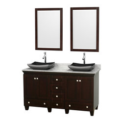 "Wyndham Collection - 60"" Acclaim Double Vanity w/ White Carrera Marble Top & Altair Black Granite Sin - Sublimely linking traditional and modern design aesthetics, and part of the exclusive Wyndham Collection Designer Series by Christopher Grubb, the Acclaim Vanity is at home in almost every bathroom decor. This solid oak vanity blends the simple lines of traditional design with modern elements like beautiful overmount sinks and brushed chrome hardware, resulting in a timeless piece of bathroom furniture. The Acclaim comes with a White Carrera or Ivory marble counter, a choice of sinks, and matching mirrors. Featuring soft close door hinges and drawer glides, you'll never hear a noisy door again! Meticulously finished with brushed chrome hardware, the attention to detail on this beautiful vanity is second to none and is sure to be envy of your friends and neighbors"
