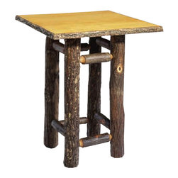 Old Hickory Small Occasional Table - Square Top - This small occasional table with square top is trimmed out in Regular Bark with Puritan Finish and Pine Veneer. Measures 20 Inch H x 16 Inch W x 26 Inch D. ~ Allow 8-10 weeks for delivery.