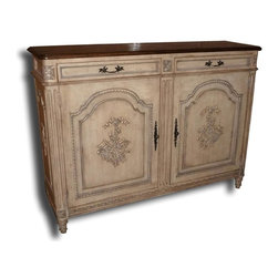 EuroLux Home - New Sideboard Walnut French Dove Tail 2-Door - Product Details