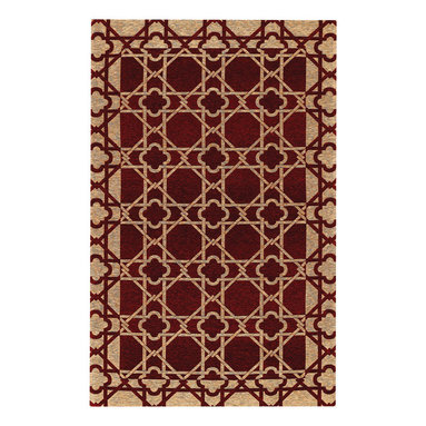Lattice Rug in Cranberry - An unsually strong flat woven quality, this unique rug collection is created on precision jacquard looms in Belgium.  A tough blend of cotton and acrylic yarns assure durability and reliable service, and the colors are clear and fashion-forward.  Designs lend themselves to both Transitional and Contemporary decor.