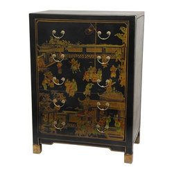 Oriental Furniture - Black Lacquer Village Life Five Drawer Chest - This black lacquered chest sports five generously sized drawers with hand painted Ming style art on the front, top, and sides. Hand built utilizing sturdy Ming frame craftsmanship and quality brass hardware, this chest is the perfect combination of beauty and design.