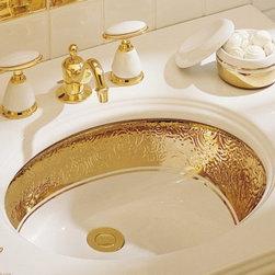 KOHLER - KOHLER K-14174-PD-0 Laureate Design on Caxton Undercounter Lavatory - KOHLER K-14174-PD-0 Laureate Design on Caxton Undercounter Lavatory in Polished Gold on White