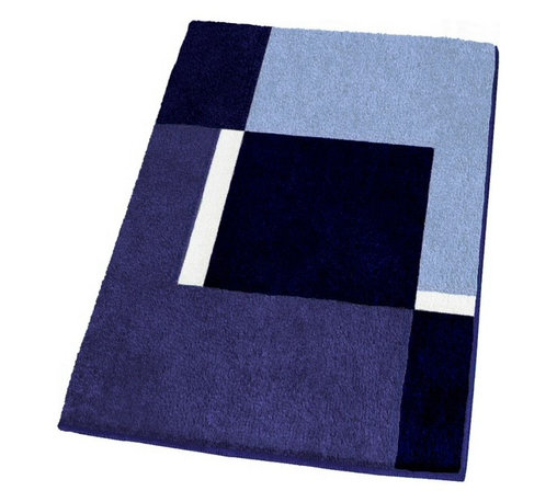 Contemporary Machine Washable Blue Bathroom Rugs, Large - Modern non-slip, machine washable bathroom rug with a thick and densely woven .79in high pile.  Our large blue bathroom rug offers a striking geometric pattern with dark blue, medium tone blue, light blue and white range of colors.  Designed and produced in Germany