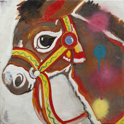 Donkey Painting - Encaustic Pop Art Painting - This encaustic painting has great texture and will add a little fun to any room in need of color.