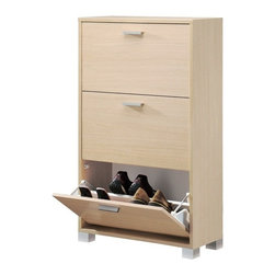 Sarmog - Natural Oak Shoe Rack with 3 Folding Double-Depth Doors - If your bathroom lacks a shoe rack, why not consider this luxury shoe rack from the Sarmog Double collection? Perfect for more contemporary & modern settings, this luxury shoe rack is floor standing and coated in natural oak.