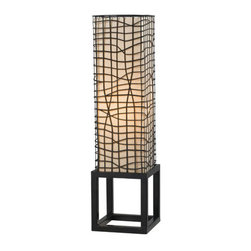 Kenroy Home - Kenroy Home 21068 Single Light Table Lamp Fortress Collection - Kenroy Home 21068 Contemporary / Modern Single Light Table Lamp from the Fortress CollectionProtected by an artfully woven outer mesh of wire is a glowing fabric column creating a beautiful interplay of texture, form and light, all centered on a square architectural base.Features: