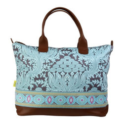 Amy Butler for Kalencom - Amy Butler Marni Duffle Bag with Ribbon, Cloud Vine Lake - Our Amy Butler Marni Duffle Bag With Ribbon in Cloud Vine Lake is a traveling companion to the MERIS collection, smaller MARNI inspires the same Wanderlust, yet easily stows below deck, or in the overhead compartment. All organic cotton, woven trim, leather handles and piping, interior pockets and coordinated contrast lining.